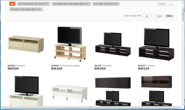 イケアマレーシアのホーム・ページのテレビ台ページ一覧。値段も載っている
