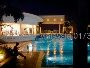 Axis residence and soho swimming pool at night