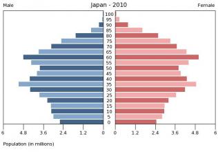 一方日本の人口ピラミッドは尻つぼみ、、、